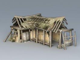 Broken Thatched Cottage 3d model preview