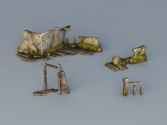Broken Wall 3d rendering