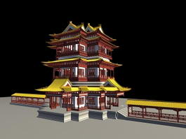 Ancient Chinese Temple 3d preview