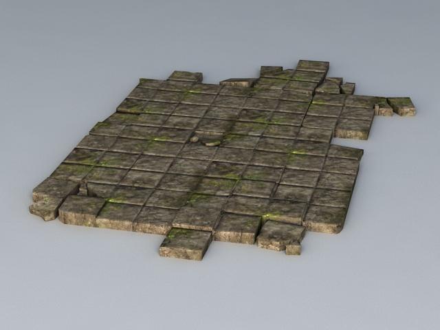 Broken Black Brick Floor 3d rendering