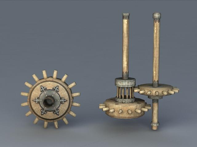 Old Wooden Windmill Gear 3d rendering