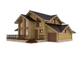 Modern Wooden House 3d preview