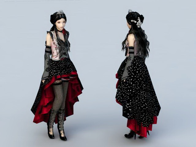 Gothic Beauty Girl 3d rendering