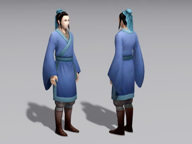 Ancient Chinese Servant 3d rendering
