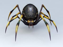 Black Yellow Spider 3d model preview