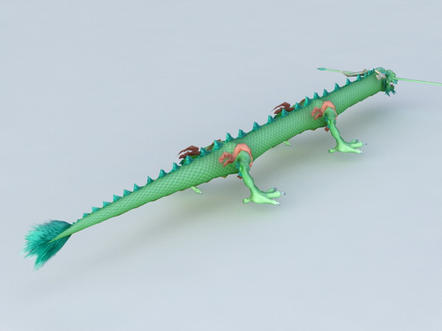 Green Chinese Dragon 3d rendering