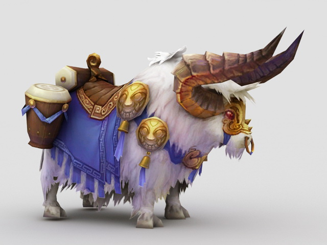Anime Cattle Mount 3d rendering
