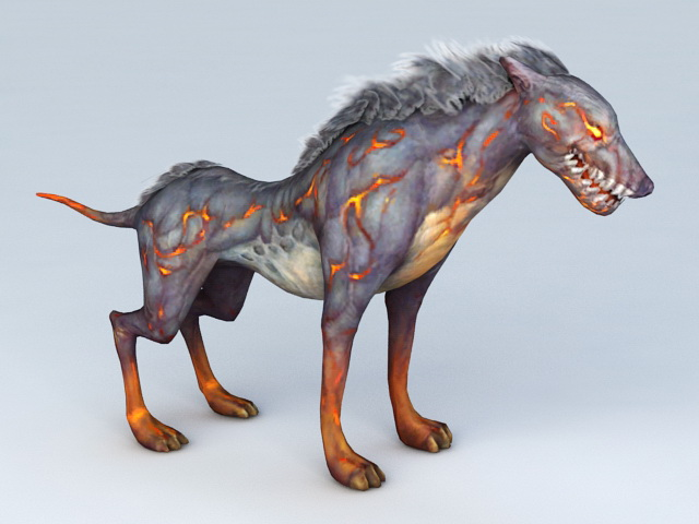 Anime Hell Hound Dog 3d rendering