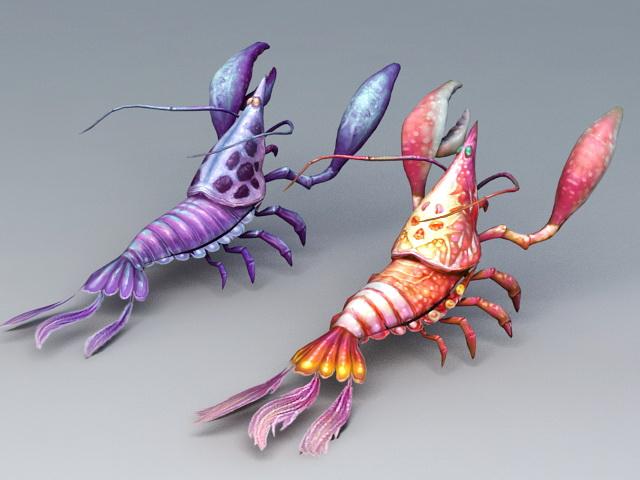 Clawed Lobsters 3d rendering