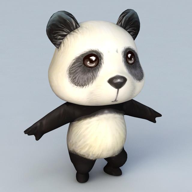 Cartoon Anime Panda 3d rendering