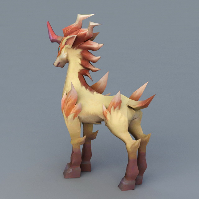 Anime Unicorn Animal 3d rendering
