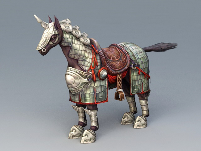 One Horned War Horse 3d rendering