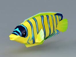 Blue and Yellow Striped Fish 3d model preview