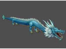 Blue Asian Dragon 3d model preview