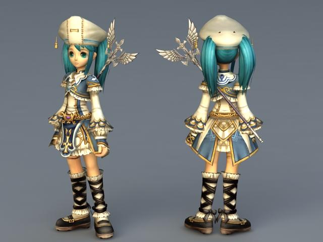 Anime Light Mage Girl 3d rendering