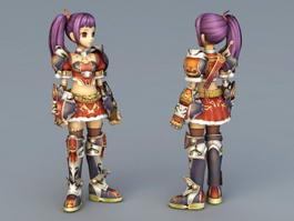 Anime Girl Warrior Elite 3d model preview