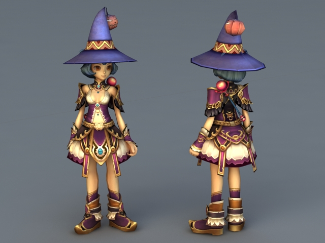 Cute Anime Witch Girl 3d rendering