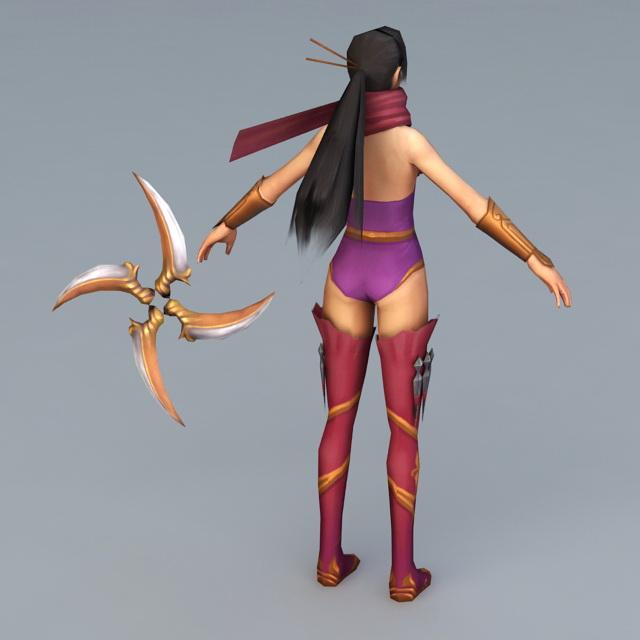 Ninja Girl 3d rendering
