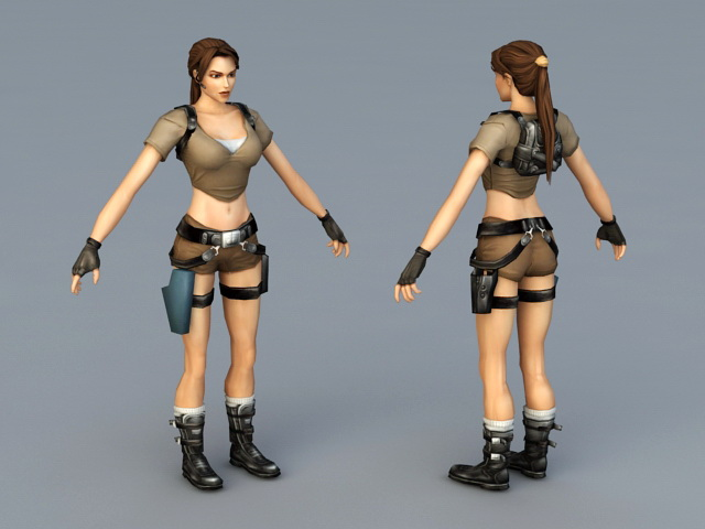 Lara Croft 3d rendering