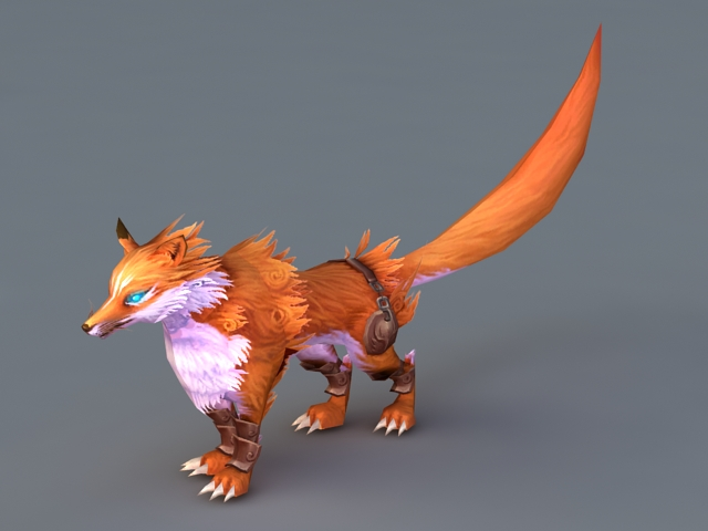 Animated Red Fox 3d rendering