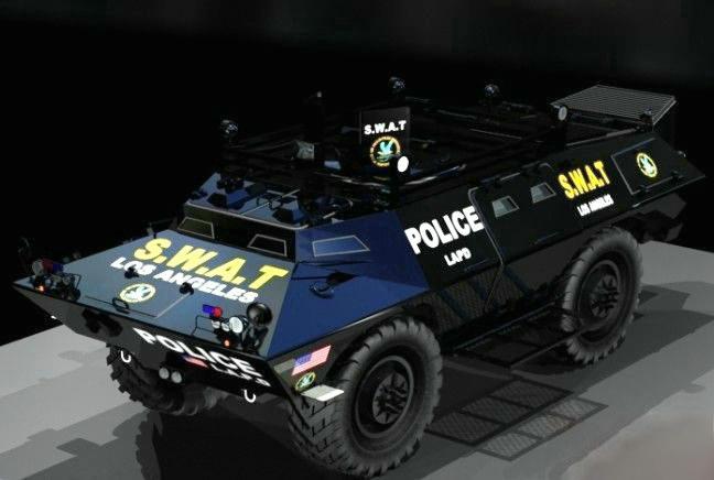 Police SWAT Armored Vehicle 3d rendering