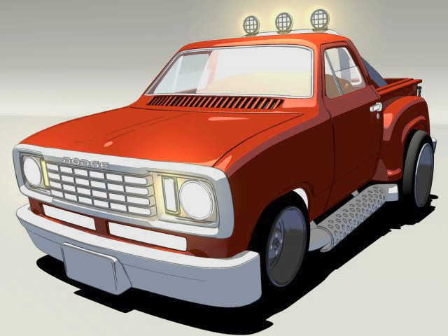 Dodge Pickup Truck Cartoon 3d rendering