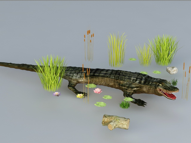 Crocodile in Pond 3d rendering