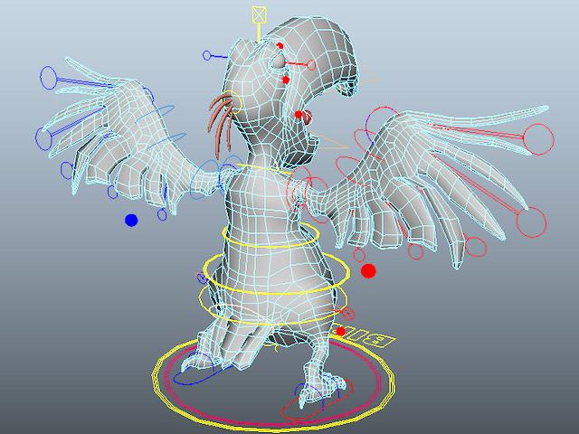 Cartoon Parrot Character 3d rendering