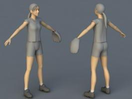 Baseball Player Girl 3d model preview