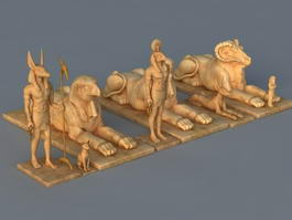 Egyptian Ruins Statues 3d model preview