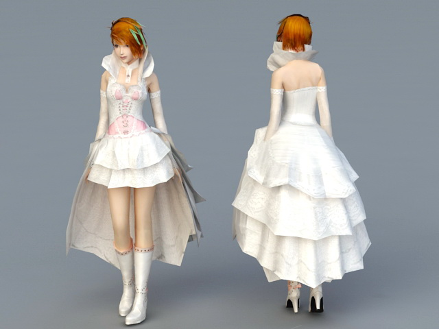 Wedding Dress Bride 3d rendering