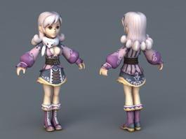 Chibi Anime Girl 3d model preview