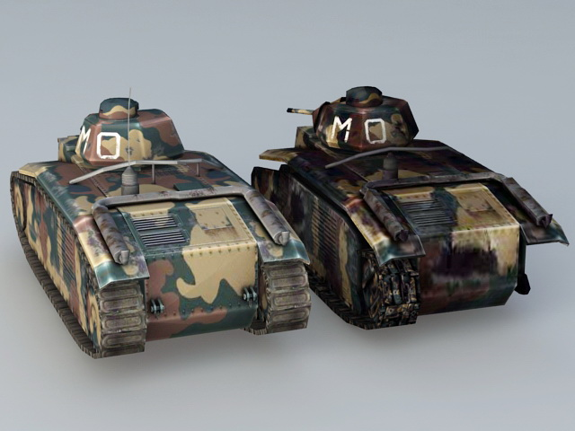 WW2 French Char B1 Tanks 3d rendering