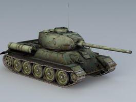 T-34-85 Soviet Tank 3d model preview