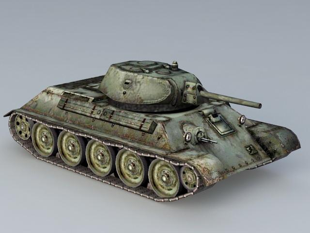 T-34/76 Mine Roller Tank 3d rendering