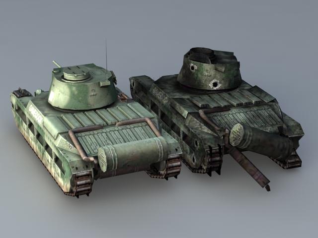 Matilda II British Infantry Tank 3d rendering