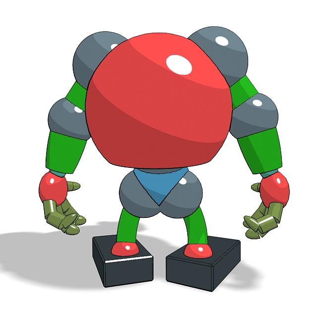 Cartoon Robot 3d rendering