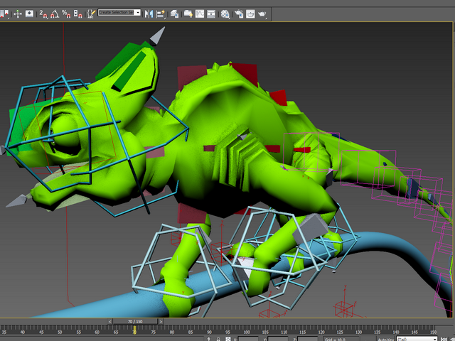 Cartoon Chameleon Animated & Rigged 3d rendering
