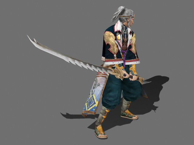 Old Samurai Warrior 3d rendering