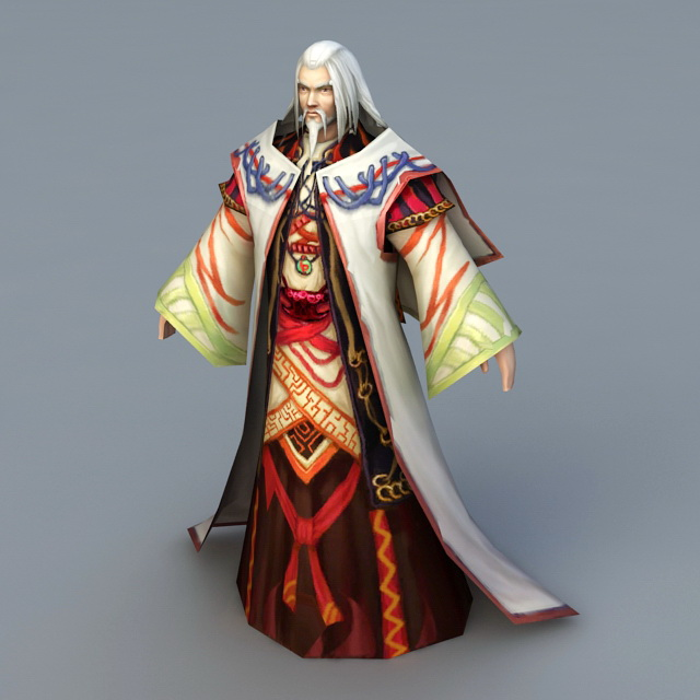 Old Wizard Mage 3d rendering