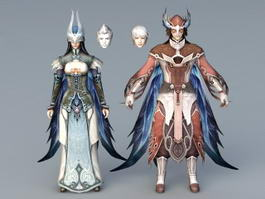 Anime Warrior Couple 3d preview