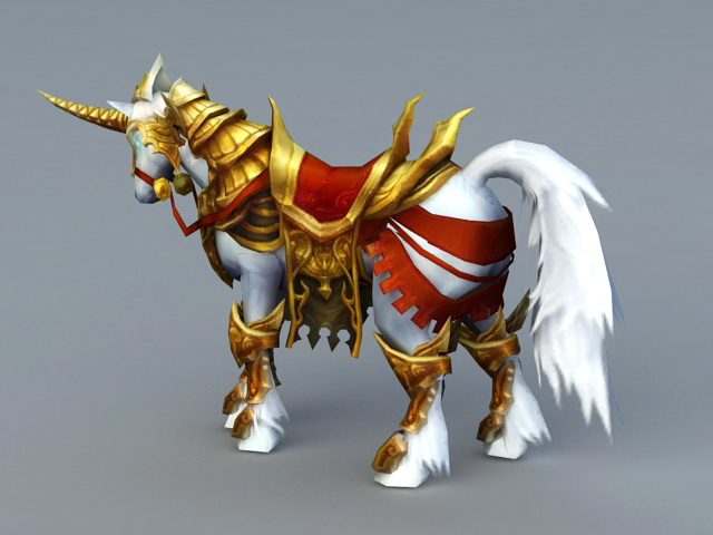 Gold Armored War Horse 3d rendering