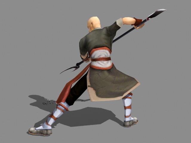 Shaolin Warrior Monk 3d rendering