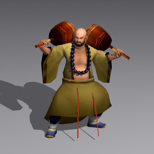 Ancient Shaolin Monk 3d rendering