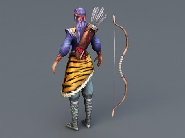 Female Medieval Archer Hunter 3d rendering