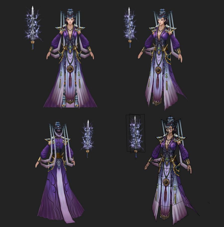 Ancient Chinese Swordswoman 3d rendering