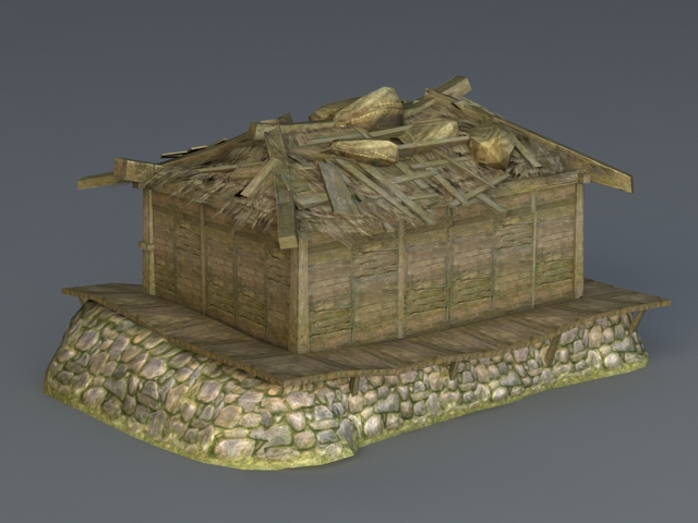 Abandoned Wooden House 3d rendering