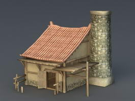 Desert Building with Tower 3d preview