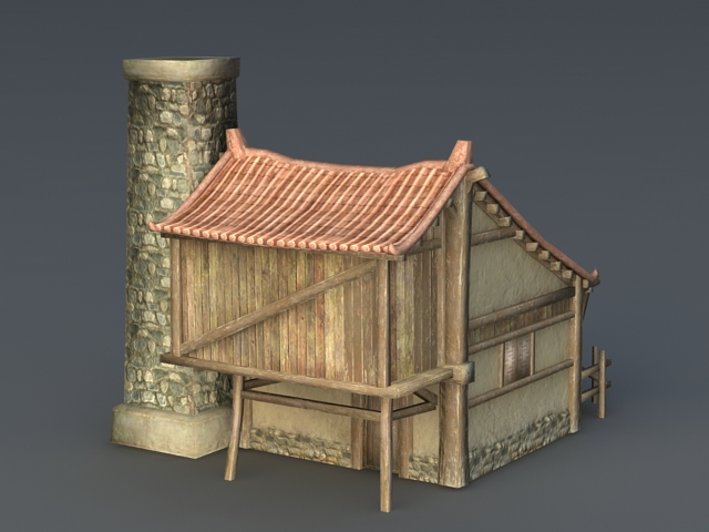 Desert Building with Tower 3d rendering