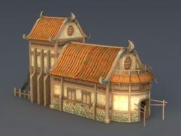 Medieval Village House 3d model preview